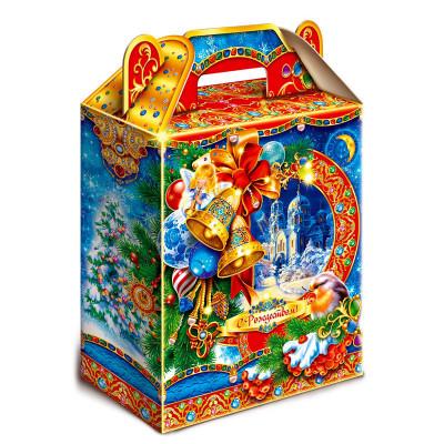 """Сладкий детский новогодний подарок """"Колокольчики"""" 900 грамм в твердой упаковке из микрогофрокартона в стандартной комплектации. в Саратове"""