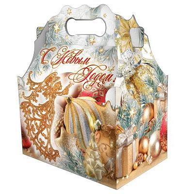 Детский новогодний подарок в твердой  упаковке из микрогофрокартона Ларец мечта 1000 грамм в комплектации эконом в Саратове