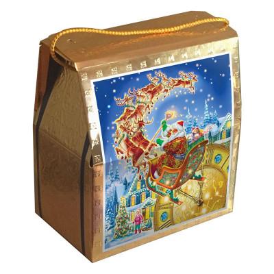 Детский новогодний подарок в упаковке из микрогофрокартона Золотой подарок 1200 грамм в Саратове