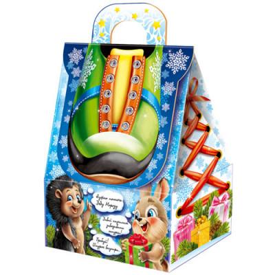 Картонная упаковка для Новогодних подарков Дед мороз на коньках в Саратове