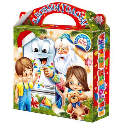"""Сладкий детский новогодний подарок """"Магнитная Мозаика"""" 900 грамм в твердой упаковке из микрогофрокартона в комплектации эконом. в Саратове"""