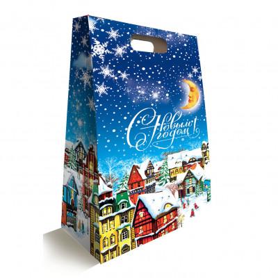 """Сладкий детский новогодний подарок """"Зимний вечер"""" 1000 грамм в упаковке из картона в комплектации эконом. в Саратове"""