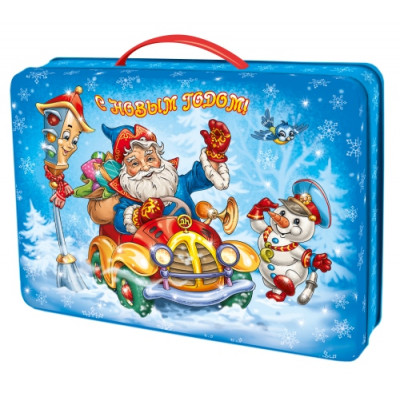 Жестяная упаковка для Новогодних подарков Мороз с подарками в Саратове