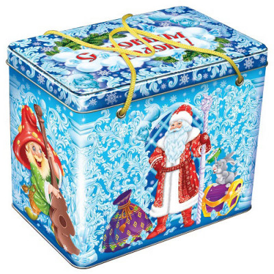Жестяная упаковка для Новогодних подарков Новогодние узоры в Саратове