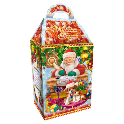 Детский новогодний подарок в упаковке из микрогофрокартона Исполнение желаний 1200 грамм в комплектации элит в Саратове