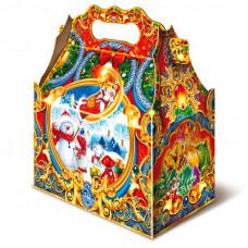 Детский новогодний подарок в твердой  упаковке из микрогофрокартона Ларец снеговик 1100 грамм в комплектации стандарт в Саратове