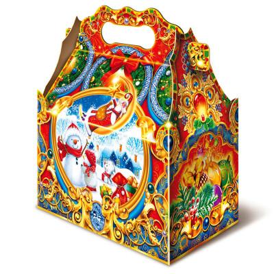 Детский новогодний подарок в твердой  упаковке из микрогофрокартона Ларец снеговик 1000 грамм в комплектации эконом в Саратове