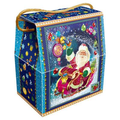 Детский новогодний подарок в твердой  упаковке из микрогофрокартона Сани деда Мороза 1000 грамм в комплектации эконом в Саратове