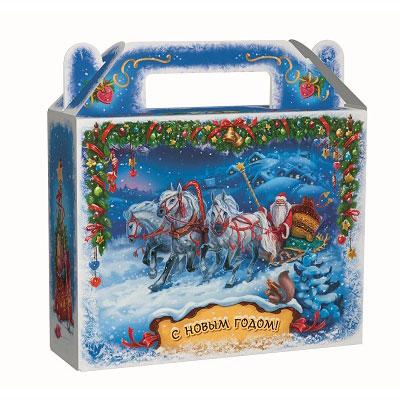 """Сладкий детский новогодний подарок """"Зима"""" 900 грамм в твердой упаковке из микрогофрокартона в элитной комплектации. в Саратове"""