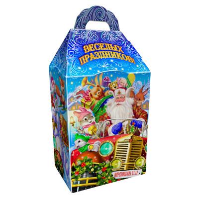 Детский новогодний подарок в твердой  упаковке из микрогофрокартона Автомобиль Деда Мороза 1000 грамм в комплектации эконом в Саратове