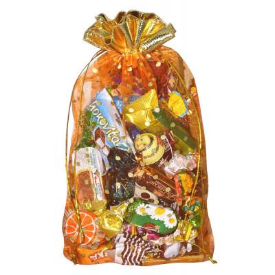 Подарочный мешок из органзы оранжевый в Саратове