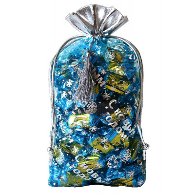 Подарочный мешок из органзы синий в Саратове