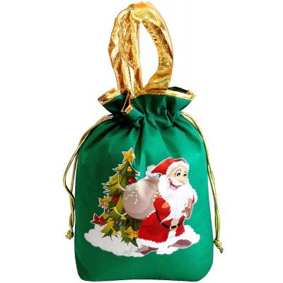 Подарочный мешок новогодний зеленый в Саратове